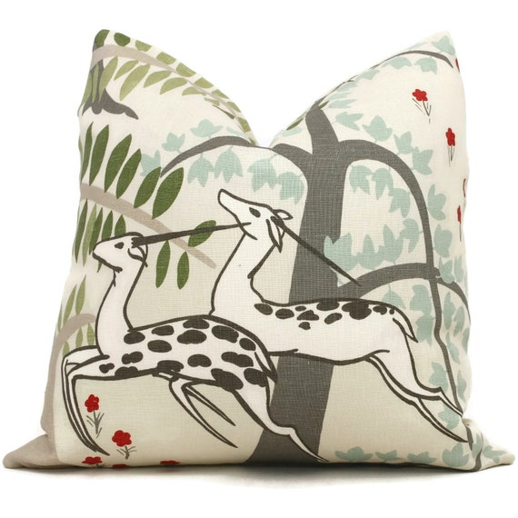Schumacher Antelopes Decorative Pillow Covers Lumbar Pillow Etsy
