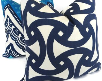 Trina Turk Navy Blue Santorini Indoor Outdoor Pillow Cover, Schumacher, 18x18, 20x20 or 22x22