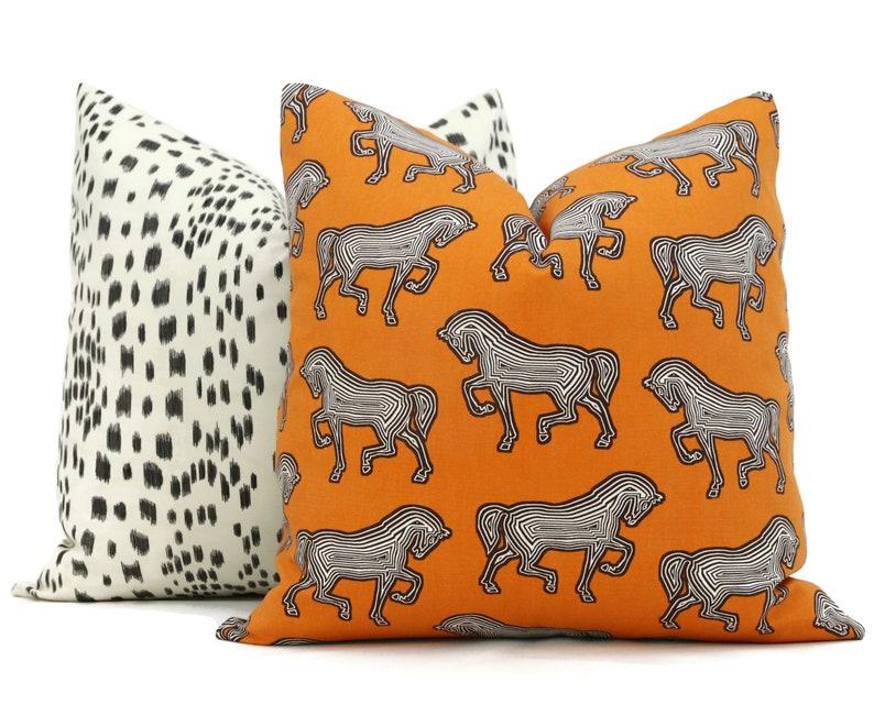Horse pillow Schumacher Orange Faubourg Decorative Pillow image 0