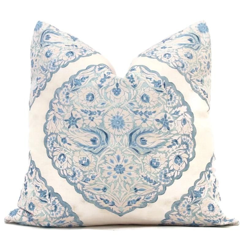 Sky Blue Lido Medallion Pillow Cover Lee Jofa Decorative image 0