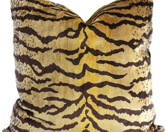 Velvet Tiger Decorative Pillow Cover 18x18, 20x20, 22x22, Eurosham or  Lumbar pillow cover, throw pillow, accent cushion, toss pillow