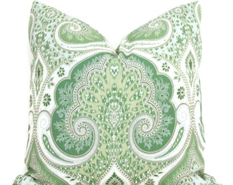 Green Laticia Paisley  Decorative Pillow Cover, 18x18, 20x20. 22x22, 24x24, 26x26 Throw Pillow, Accent Pillow, Pillow Sham  Kravet Leaf