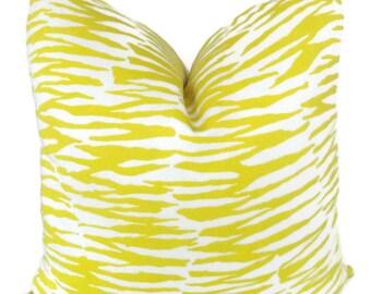 Schumacher Trina Turk Yellow Zebra Indoor Outdoor Pillow Cover, 18x18, 20x20, 22x22, 24x24, 26x26 or lumbar pillow, Throw pillow