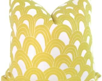 Schumacher Trina Turk Yellow Arches Indoor Outdoor Pillow Cover, Square Lumbar or Eurosham, Schumacher