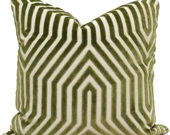 Schumacher Green Vanderbilt Pillow Cover