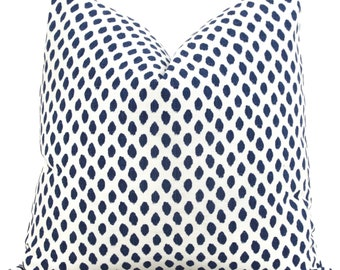 Lacefield White and Navy Blue Dot Decorative Pillow Covers Square, Eurosham or Lumbar Pillow - Accent Pillow Sahara Dot midnight