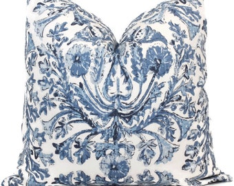 Blue and White Damask Print Decorative Pillow Cover, 18x18, 20x20, 22x22, Euro sham or lumbar pillow Throw Pillow, Lacefield Designs
