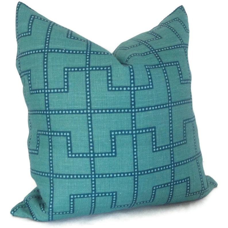 Celerie Kemble Bleecker Peacock Blue Decorative Pillow Cover image 0