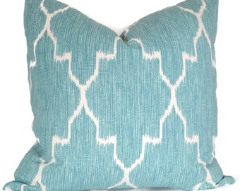 Aqua and White Lattice Decorative Pillow Covers 18x18, 20x20, 22x22 or Lumbar Pillow Monacco Trellis Accent Pillow Lacefield Textiles Monaco