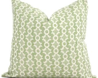 Sister Parish Clara B Green Decorative Pillow Cover  18x18, 20x20, 22x22, Eurosham or lumbar,