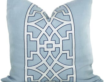 Mary McDonald Light Blue Trellis Decorative Pillow Cover 18x18, 20x20, 22x22 or lumbar pillow - Throw Pillow - Accent Pillow - Don't Fret