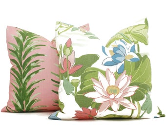 Pink and Green Lake Agawam Decorative Pillow Cover, Throw Pillow, Accent Pillow, Pillow Sham  Pink lily pad Madcap Cottage