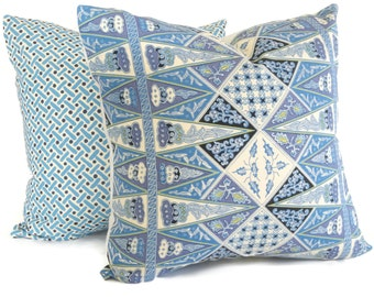 Quadrille Pillow Cover China Seas Malay Stripe French Blue, Square, Eurosham or Lumbar pillow Accent Pillow, Throw Pillow, Toss Pillow