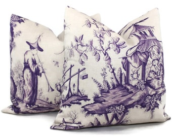 Iris Shengyou Toile Decorative Pillow Cover 18x18, 20x20, 22x22, 24x24, Eurosham or Lumbar Pillow, Schumacher purple toile pillow