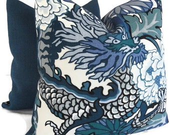 Schumacher China Blue Chiang Mai Dragon Decorative Pillow Covers 18x18, 20x20 or 22x22, Toss Pillow, Accent Pillow, Throw Pillows