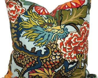 Double Sided Schumacher Chiang Mai Dragon Decorative Pillow Cover, Choose your Color, Accent Pillow, Designer Pillow, Throw Pillow