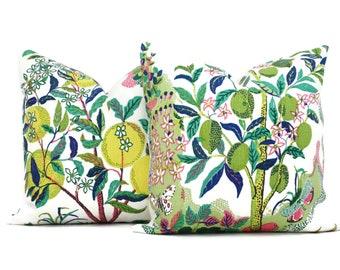 "Citrus Garden Decorative Pillow Cover Lime 18"", 20"", 22"", 24"", 26"" or Lumbar Pillow, Schumacher Josef Frank pillow cover, Lime Pink Colorway"