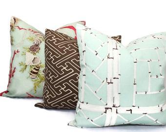 Quadrille Decorative Pillow Cover Aqua Lyford Trellis Alan Campbell, 18x18, 20x20, 22x22, 24x24 or Lumbar pillow, throw pillow