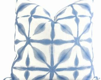 Andromeda Sky Blue Pillow Covers 18x18, 20x20 or 22x22 Eurosham or Lumbar Pillow, Schumacher Pillow, Shibori, Made to order pillow cover