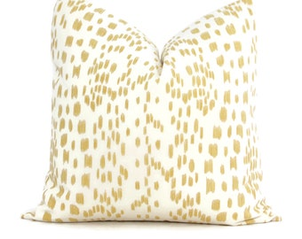 Brunschwig Fils Les Touches Canary Yellow Decorative Pillow Cover  18x18, 20x20, 22x22, Eurosham or lumbar