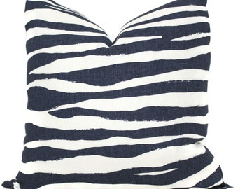 Indigo Blue Zebra Pillow Cover Choose your size  Square, Eurosham or Lumbar pillow, Kravet fabric, toss pillow, blue throw pillow