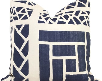 Quadrille China Seas Navy Blue Trellis Stripe Print Pillow Cover Square, 18x18, 20x20, 22x22, 24x24, 26x26 lumbar pillow, Lyford trellis
