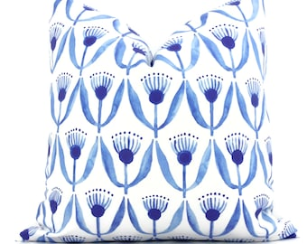 Royal Blue Dilly Flower Decorative Pillow Cover, Square or Lumbar Throw Pillow, Accent Pillow, Pillow Sham  blue white Watercolor flowers