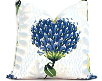 Blue and Green Tiverton Decorative Pillow Cover  18x18, 20x20, 22x22, Eurosham or lumbar Thibaut cushion cover, toss pillow accent pillow