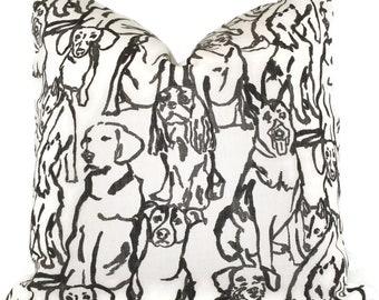 Best Friends Dog Pillow Black Decorative Pillow Cover, Throw Pillow, Accent Pillow, Pillow Sham  Black Dog Portrait Lacefield Textiles