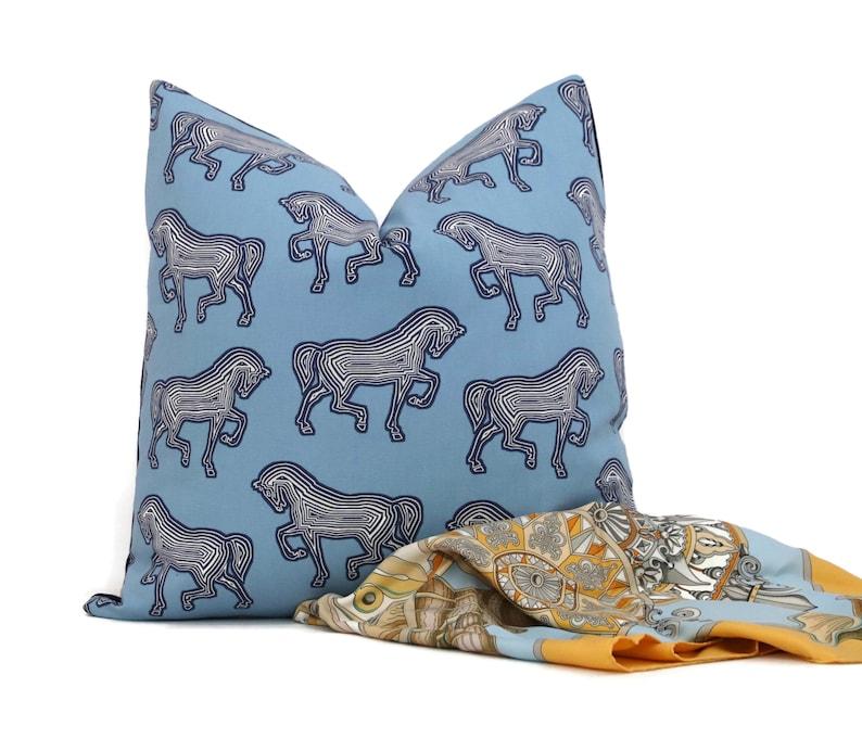 Horse pillow Schumacher Blue Faubourg Decorative Pillow Cover image 0