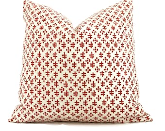 Sister Parish Chili Red Tucker Decorative Pillow Cover  18x18, 20x20, 22x22, Eurosham or lumbar, Nantucket red off white cushion