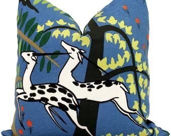 Blue Schumacher Antelopes Decorative Pillow Covers 18x18, 20x20 or 22x22, 24x24, 26x26 or lumbar pillow, Paul Poiret