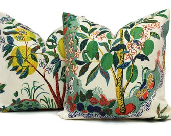 "Citrus Garden Decorative Pillow Cover 18"", 20"", 22"", 24"", 26"" or Lumbar Pillow, Schumacher Josef Frank pillow cover, Lemon Lime Tree primary"