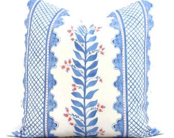 Blue Sweet Pea Decorative Pillow Cover, Throw Pillow, Accent Pillow, Pillow Sham Periwinkle blue coral pink trellis