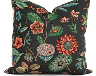 Decorative Pillow Cover Roca Redonda in Carbon  18x18, 20x20, 22x22, 24x24, Eurosham, Lumbar Pillow, Floral pillow, Josef Frank pillow