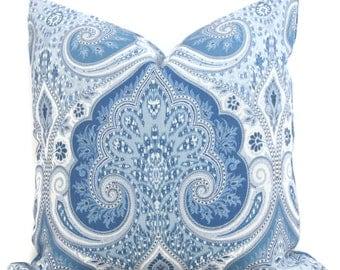 Blue Laticia Paisley  Decorative Pillow Cover, 18x18, 20x20. 22x22, 24x24, 26x26 Throw Pillow, Accent Pillow, Pillow Sham  Kravet sea blue