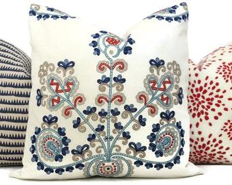 Schumacher Estrella print  Decorative Pillow Cover 22 red blue throw pillow cushion cover