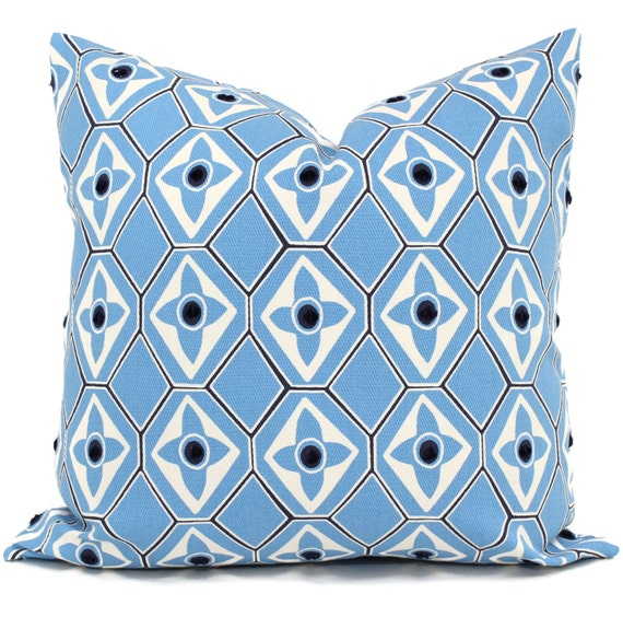 Light Blue Decorative Pillow Cover Navy Dot 40x40 40x40 Etsy Cool Light Blue Throw Pillow Covers