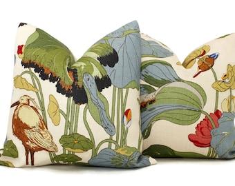 Nympheus Lily Pad Pistachio Pillow Cover Lee Jofa JP & G Baker, Square, Euro or Lumbar Pillow, Aqua Teal, Throw Pillow, Accent Pillow