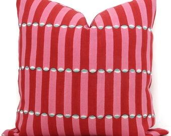 Red and pink wood block Molly Mahon Decorative Pillow Cover 18x18, 20x20, 22x22, Eurosham or lumbar wood block print Schumacher luna