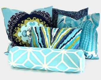 Trina Turk Aqua Trellis Outdoor Bolster Pillow Cover, Schumacher designer fabric