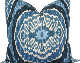 Duralee Denim Blue Masala Suzani Pillow Cover, Decorative Pillow Cover 18x18, 20x20, 22x22, 24x24, Eurosham, or lumbar handmade