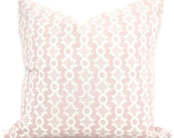Sister Parish Clara B Pale Pink Decorative Pillow Cover  18x18, 20x20, 22x22, Eurosham or lumbar, Blush pink white cushion