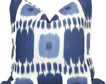 Blue Kandira Ikat Decorative Pillow Covers 18x18, 20x20 or 22x22, 14x20 or 12x24  Schumacher pillow, accent pillow, throw pillow