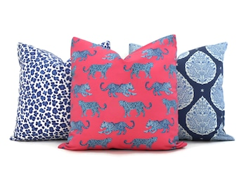 Hot Pink and Blue Creeping Cheetah Decorative Pillow Cover, Throw Pillow, Accent Pillow, Pillow Sham  Lacefield Textiles