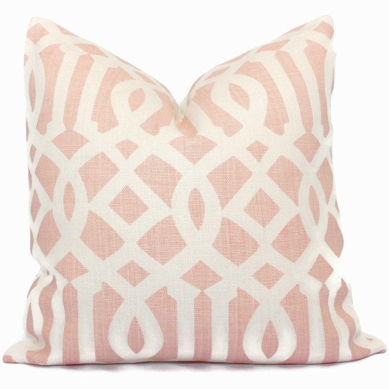Schumacher Blush Pink Imperial Trellis Decorative Pillow image 0