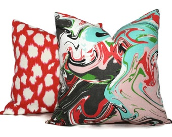 Swirl Marble Multi Pillow Cover Choose your size  Square, Eurosham or Lumbar pillow, made with Kate Spade Kravet fabric, red throw pillow