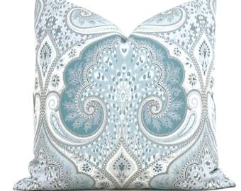 Aqua Laticia Paisley Decorative Pillow Cover, 18x18, 20x20. 22x22, 24x24, 26x26 Throw Pillow, Accent Pillow, Pillow Sham  Kravet Tidepool