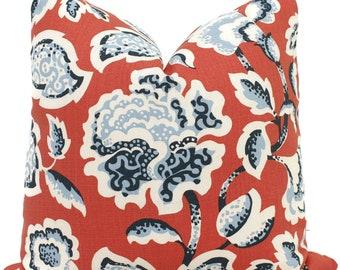 Decorative Pillow Cover Red Deco Flower 18x18, 20x20, 22x22, 24x24, Eurosham, Lumbar Pillow, Floral pillow, Josef Frank pillow