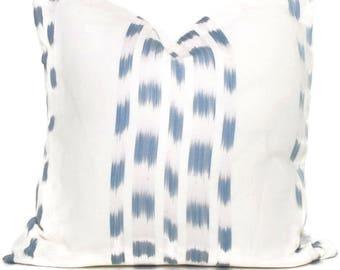 Schumacher Light Blue Izmir Ikat Decorative Pillow Cover, Square or Lumbar pillow - Accent Pillow, Throw Pillow